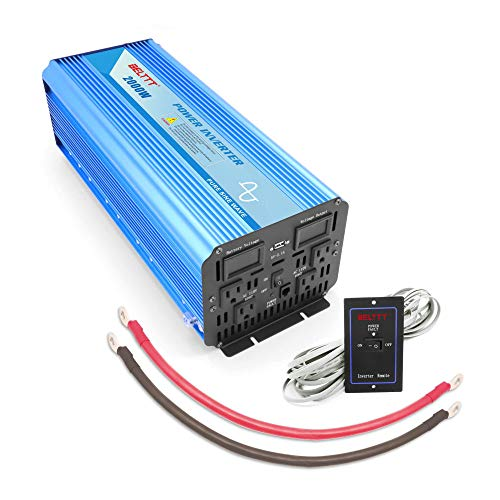 BELTTT 2000W Pure Sine Wave Power Inverter 12V DC to 110 V AC with 4 AC Outlets and LCD Display,1 USB Charging Port, Remote Switch (4000W Peak)