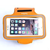 Yaekoo iPhone Armband for Running, Sport Exercise Gym Arm band Sleeve Case for iPhone Water Resistant + Sweat Proof + Key Holder + ID/Credit Card/Money Holder (Orange, 4.7)