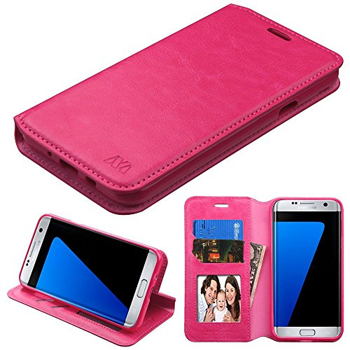 Galaxy J7 (2017)/Sky Pro Case, Mybat Stand Folio Flip Leather [Card Slot] Wallet Flap Pouch Case Cover for Samsung Galaxy J7 (2017)/Sky Pro, Hot Pink