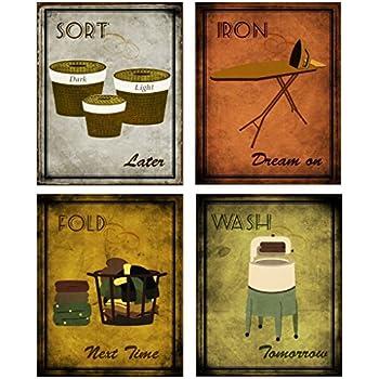 popular items laundry room decor. Laundry Room Home Decor Set - Iron Wash Fold Sort Mini Art Prints Posters 8x10 Inches Popular Items