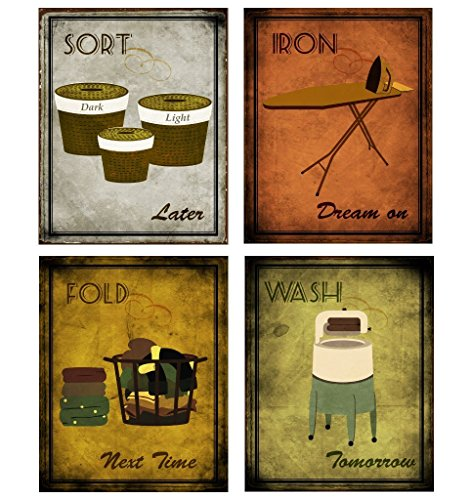 "wallsthatspeak Funny Laundry Room Vintage Posters - Inspirational Posters Wash, Sort, Fold, Iron Prints, Set of Four 8"" x 10"" by"