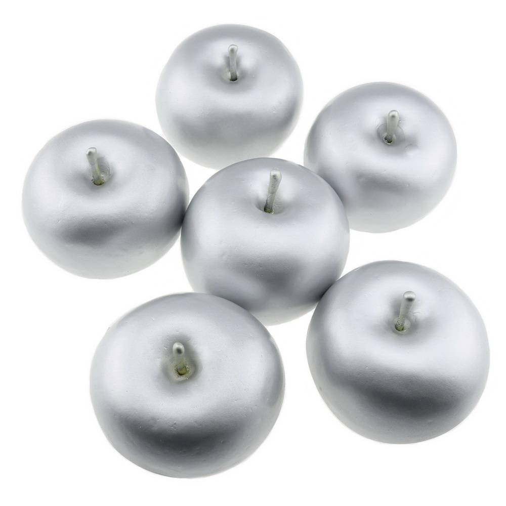 Gresorth 6 PCS Artificial Silver Apple Fake Apples Fruit Home Party Christmas Decoration
