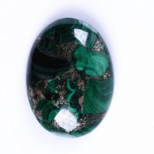 30x22mm Oval Cabochon CAB Flatback Semi-precious Gemstone Ring Face (Man made Malachite & Pyrite) (Oval Malachite)