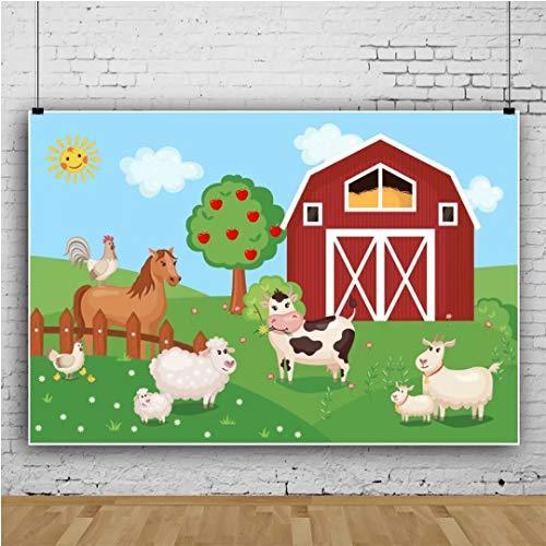 Leowefowa 5x3ft Vinyl Photography Backdrop Cartoon Farm Animals Barnyard Apple Tree Grassy Hills Kids Birthday Background Event Party Decoration Portrait Photo Shoot Studio Photo Booth Props
