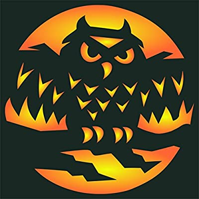 Halloween Sign Stencil Use On Paper Projects Scrapbook Journal Walls Floors Fabric Furniture Glass Wood Etc. - Reusable Creepy Holiday Spooky Sign Wall Stencil Template 11.5 x 11.5cm S