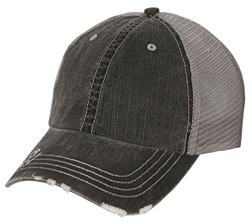 Lightweight Vintage Style Washed Mesh Trucker Baseball Cap Hat (Black)