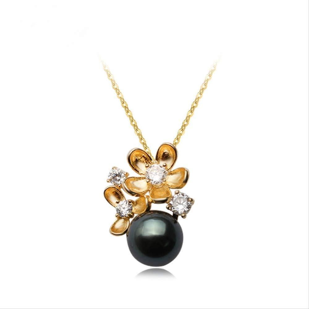 WTPUNGB Collar Redondo de Perlas Negras Naturales Redondas Mujer Cadena de Plata de Ley 925 Colgantes de Perlas de Tahití Collar de Boda