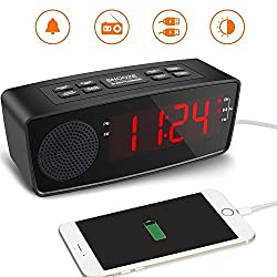 Clock Radio, FM Digital Radio Alarm Clock USB Charging Port Bedroom, Kitchen, Hotel, Table, Desk