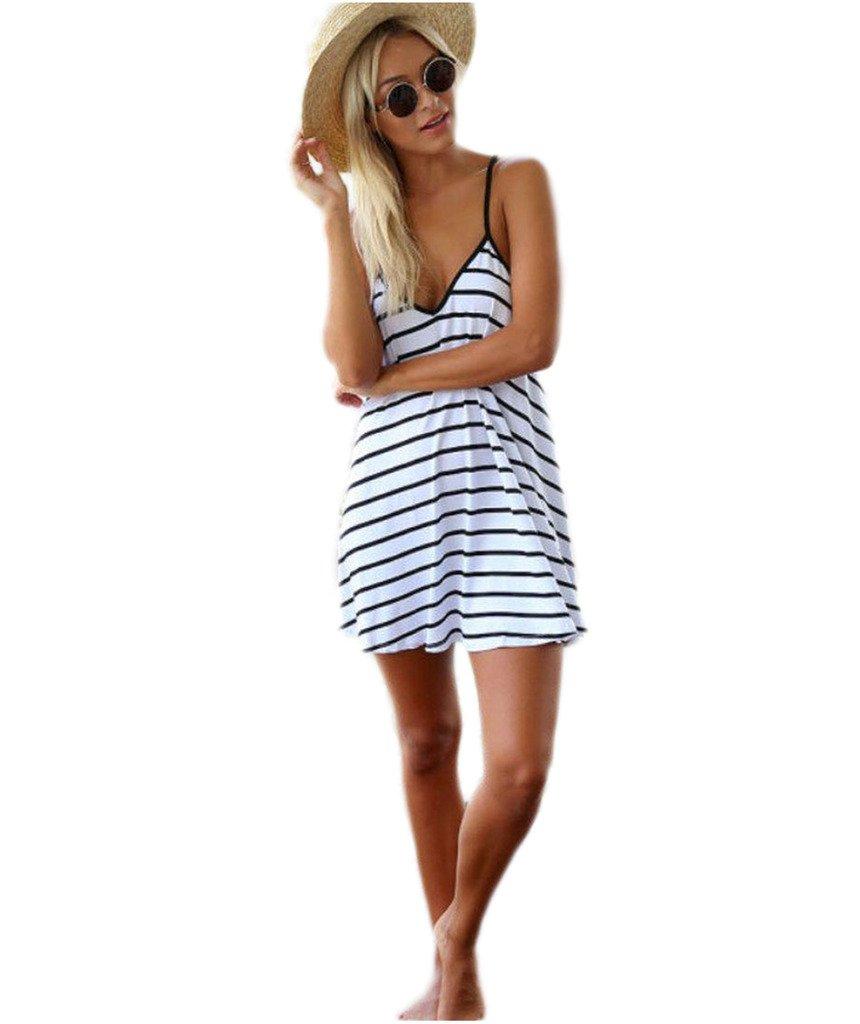 Mansy Women's Summer Strap Loose V-neck Halter Casual Beach Dress, White, Large