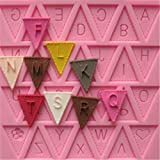 Yosoo Letter Flag Bunting Silicone Fondant Mold Cake Decorating Chocolate Mould Baking