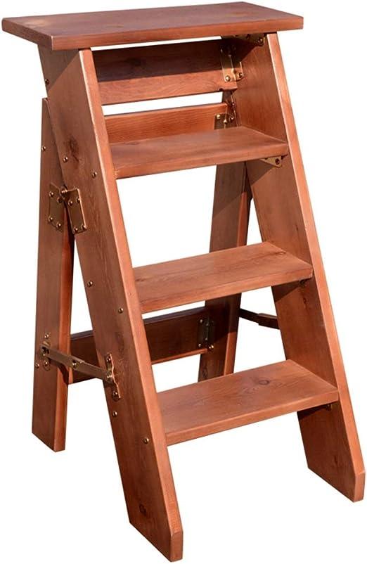 Escaleras Taburete Plegable de 4 Pasos, Madera Natural Resistente, Escalera de Tijera de Madera Multiusos, Marrón: Amazon.es: Hogar