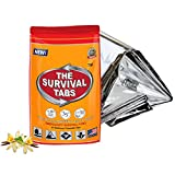 Emergency Blanket All Weather Waterproof Mylar Technology Survival Blanket Safety Foil Reflecting Retaining Heat in Extreme Weather (5 Pack) + Survival Food for Snowmobile racing Survival Tabs 2-Day Food Supply 24 Tabs Emergency Food Ration Survival MREs Meals Ready-to-eat Bugout Emergency Food Replacement Gluten Free and Non-GMO 25 Years Shelf Life Long Term Food Storage – Vanilla Flavor