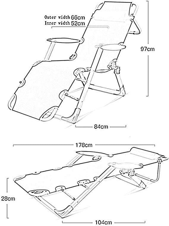 XIAOYAN Chaise de Jardin Pliante Chaise Longue Pliante Chaise de Jardin inclinable R/églage de la Position 5 Multi-Fonction 2 Couleurs Couleur : A