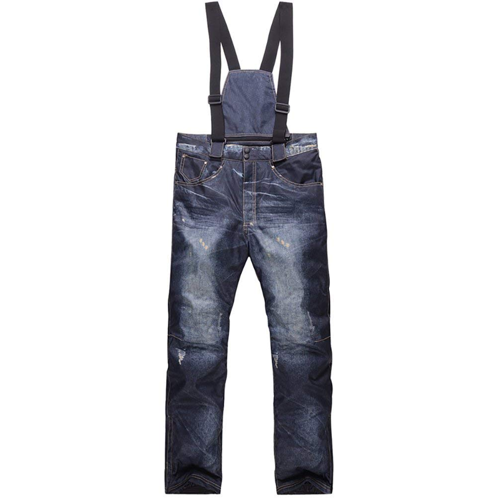 Zongsi Pantaloni da sci da uomo Casual Bretelle Jeans da sci Impermeabile e traspirante Warm Skiing Pantaloni da snowboard (XXXL, Blu)