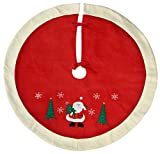 WeRChristmas Waving Santa Traditional Christmas Tree Skirt Decoration, 107 Cm - Red