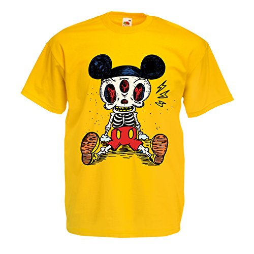 T Shirts for Men Mouse Skeleton Halloween Party Outfits Trick or Treat Death Skull Design (Large Yellow Multi Color) -