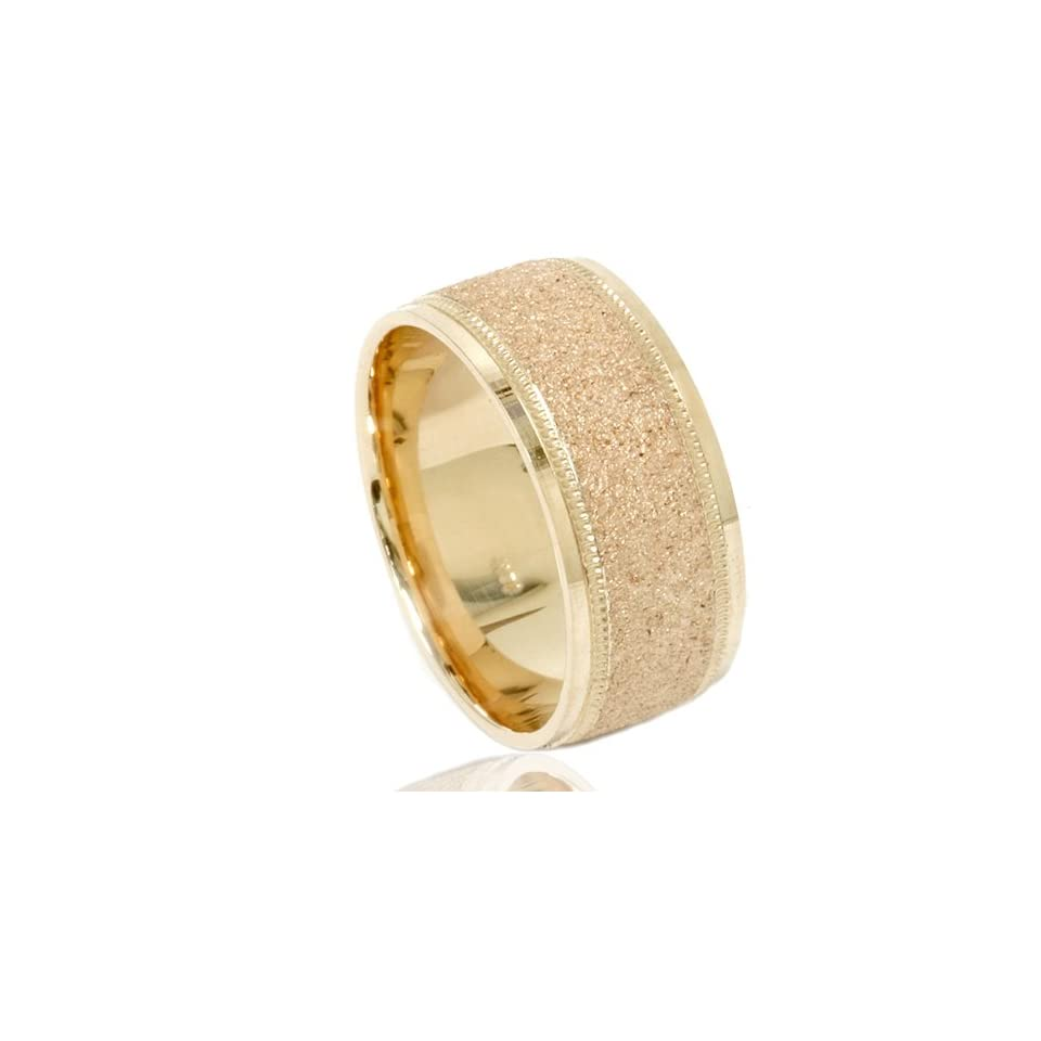 Mens Brushed Wedding Band Solid 10K Yellow Gold Ring 8mm (SZ 7 12)