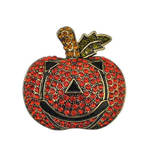 GRACE JUN Large Rhinestone Enamel Pumpkin Brooches Unisex Halloween Brooch Pin (Pumpkin brooch)