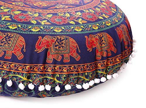 Popular Handicrafts Large Hippie Elephant Mandala Floor Pillow Cover - Cushion Cover - Pouf Cover Round Bohemian Yoga Decor Floor Cushion Case- 32