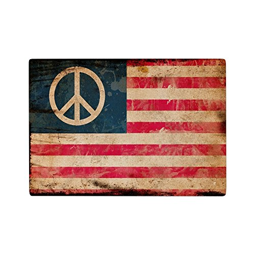 - Glass Cutting Board Worn US Flag with Peace Symbol Sign