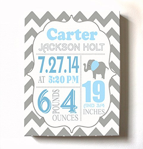 Personalized Stretched Canvas Birth Announcement Gift, Custom Baby Name, Date, Weight Stats, Newborn Elephant Nursery Wall Art Decor, 100% Wooden Frame Construction, Ready To Hang ()