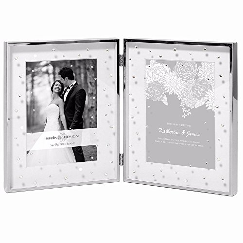 - CELIA Silverplate w/Crystals Double 5x7 matted frame by Swing Design - 5x7