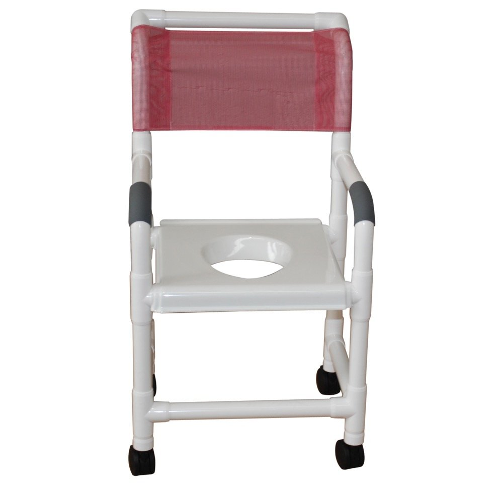 MJM International 118-3TW-VS Standard Shower Chair with Clamp On Seat, 300 oz Capacity, Royal Blue/Forest Green/Mauve