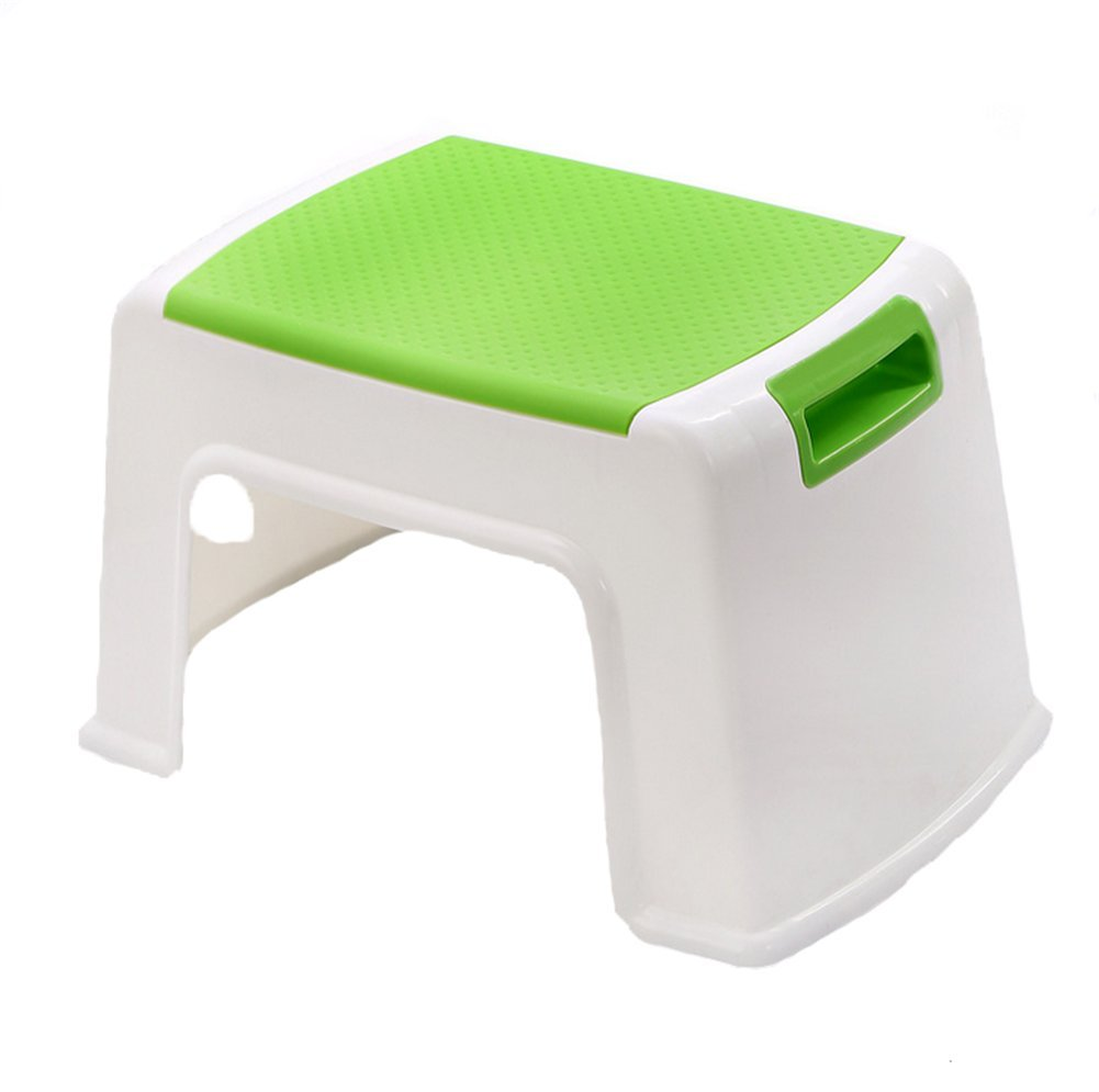 JHKJ WGE Stackable Sturdy and Stable Baby Kids Eco-Friendly Plastic Step Stool Skid Safety Rubber Surface Bathroom Footstool,Green