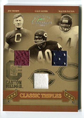 Jim Thorpe Gale Sayers Walter Payton 2006 Donruss Classics Triples Jersey Swatch #/50 Canton Bulldogs Chicago Bears