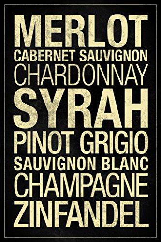 Wines Types Black Poster 12x18 inch Sauvignon Blanc Fume Blanc