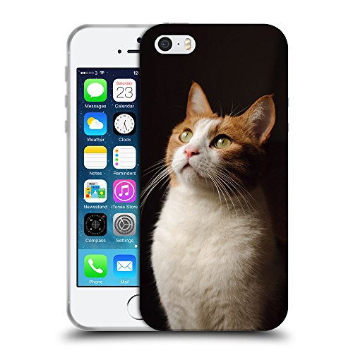 Just Phone Cases Coque de Protection TPU Silicone Case pour // V00004308 chat regardant la lumière // Apple iPhone 5 5S 5G SE