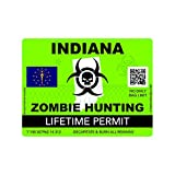 fagraphix Zombie Indiana State Hunting Permit Sticker Self Adhesive Vinyl Decal in - 4.00 Wide