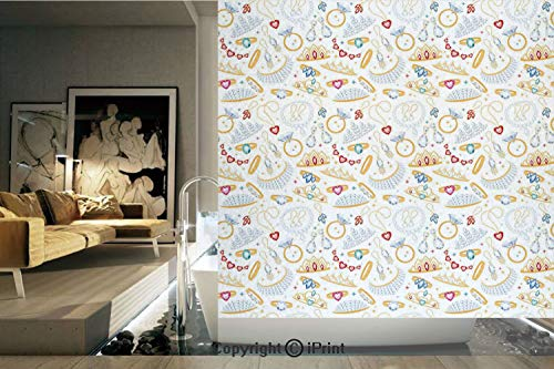 Decorative Privacy Window Film/Pattern with Accessories Diamond Rings and Earring Figures Image Digital Print Decorative/No-Glue Self Static Cling for Home Bedroom Bathroom Kitchen Office Decor White - Ring Diamond Trellis Cut