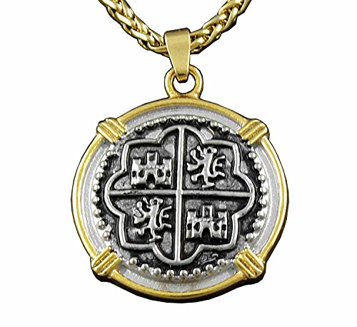(Piece of Eight Pirate Spanish Treasure Coin Pendant +chain Necklace)