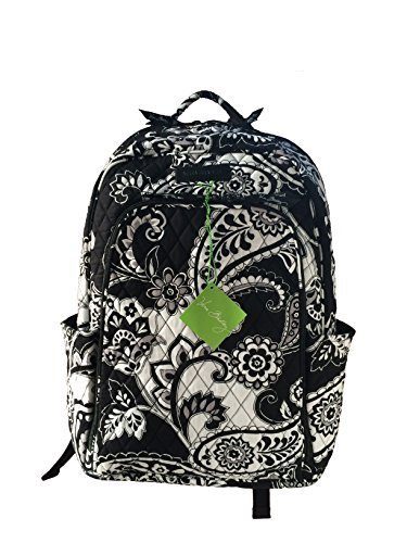 Vera Bradley Laptop Backpack (Updated Version) with Solid Color Interiors (Midnight Paisley with Black Interiors)