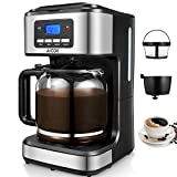 : Coffee Maker 12 Cup, Aicok Drip Coffee Maker with Timer, Programmable Coffee Maker with Glass Coffee Pot, Basket Coffee Filter, Black