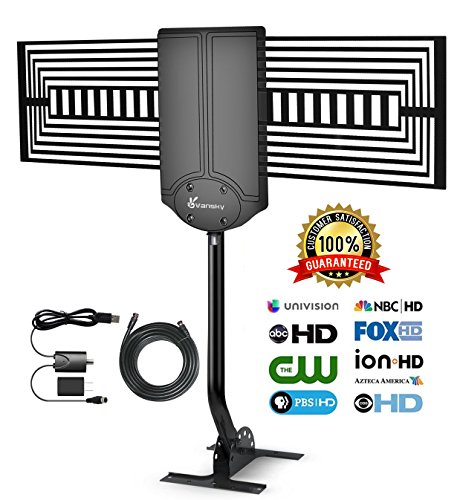 TV Antenna Outdoor - Vansky HD Amplified Digital HDTV Antenna 150 Mile Range w/ Adjustable Antenna Pole Mount, Omni-Directional 1080P Signal Reception for FM/VHF/UHF - 33FT Coax Cable