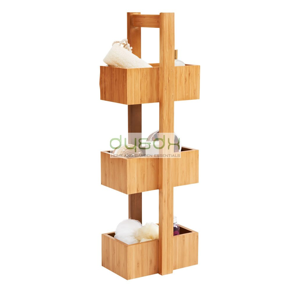 Free Standing 3 Tier Storage caddy White Wood or Bamboo (Bamboo ...