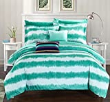 Chic Home 7 Piece Noah Striped Hand Dipped Shibori Tie-Dye Printed Bed In A Bag Comforter Set with Sheet Set & Colorful Pillows, Twin X-Large, Turquoise by Chic Home