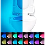 16-Color Motion Activated Toilet Night Light, LED Toilet Seat Nightlight, Motion Sensor Toilet Bowl Light, 5 Stage Dimmer, Splash Proof – By Witshine