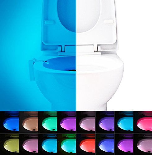 16-Color Motion Activated Toilet Night Light, LED Toilet Seat Nightlight, Motion Sensor Toilet Bowl Light, 5 Stage Dimmer, Splash Proof – By Witshine - Toilet Bowl Light