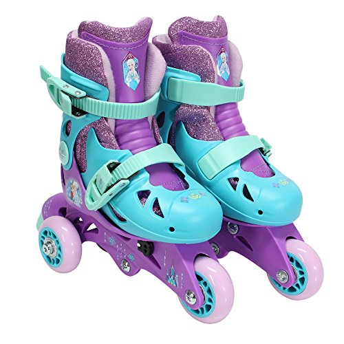 PlayWheels Frozen Glitter Convertible 2-in-1 Skates, Junior Size 6-9