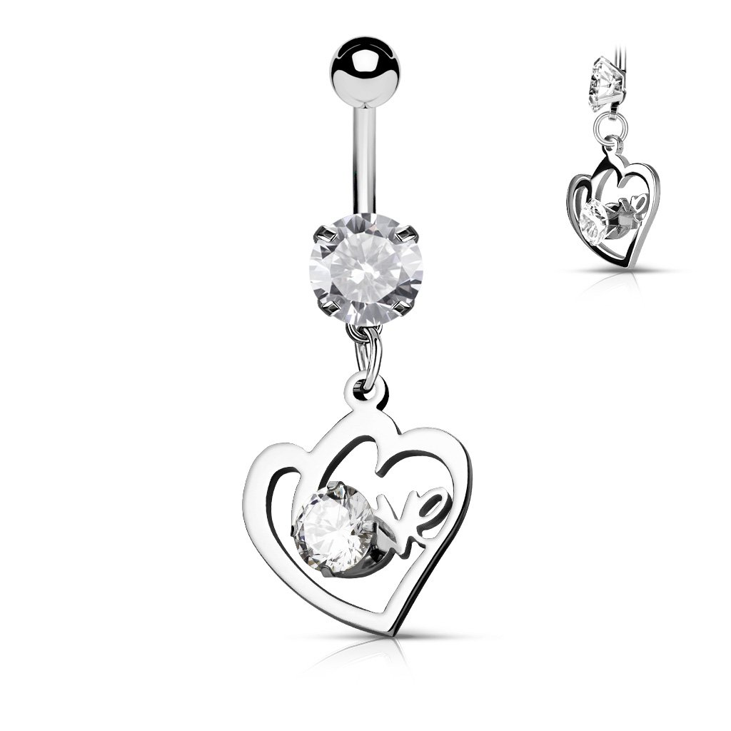 Heart with CZ Set Love Dangle Prong Set CZ All Surgical Steel WildKlass Belly Button Navel Rings