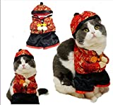 Gollyking Dog Chinese New Year Style Costume Jumpsuit Coat Pets Dogs Cats Winter Clothes (with hat, M)
