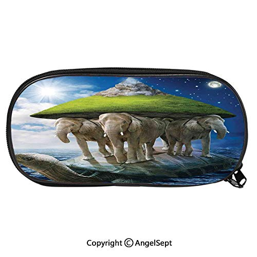 Child Pencil Case Turtle Carrying Elephants with The Earth on Their Backs Cosmic Philosophy School Pen Bag Stationary Multipurpose Pouch for Girls Makeup Cosmetic BagGreen Blue White