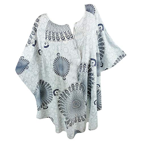 〓COOlCCI〓Women Plue Size Short Sleeve V Neck Short Sleeve Batwing Sleeve Casual Loose Tunic Top Blouses Tees Shirt Gray