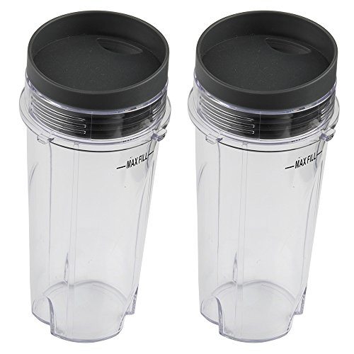 h Lid Replacement Parts for Nutri Ninja BL660 BL663 BL740 BL770 BL771 BL772 BL780 BL810 BL820 BL830 Professional Blender (2pc 16oz Cups with lids) ()