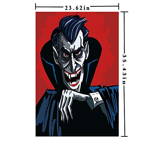Removable Static Decorative Privacy Window Films 3D Printed, Cartoon Cruel Old Man with Cape Sharp Teeth Evil Creepy Smile Halloween Theme Both Suitable for Home and Office, 23.62 x 35.43 inch,Blue -