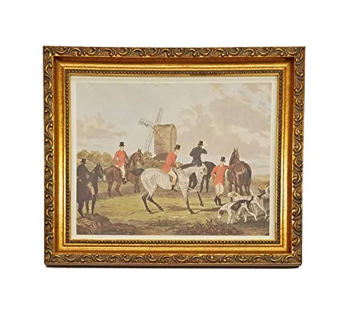 Scene English Hunt - TheShoppe-USA The Meet - English Fox Hunt Scene Picture - Beagle Horses Bugles Creek - Antique Gold Frame