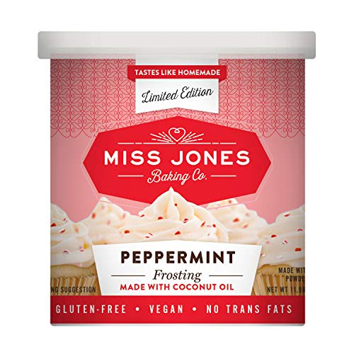 Miss Jones Baking 90% Organic Holiday Buttercream Frosting, Perfect for Icing and Decorating, Vegan-Friendly: Peppermint with Candy Crunch Pieces (Pack of 1)